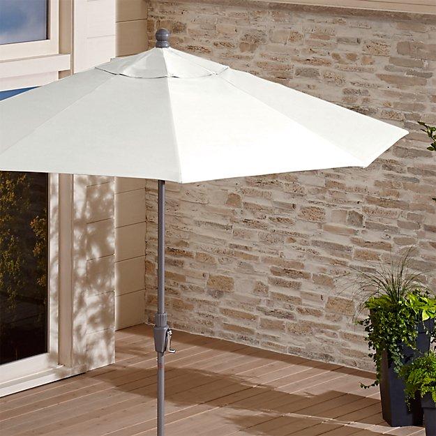 9 White Patio Umbrella By Sunbrella Reviews Crate And Barrel