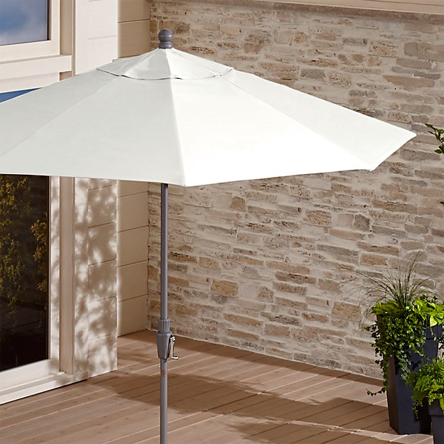 9' Round Sunbrella ® White Sand Patio Umbrella with Tilt Silver Frame - Image 1 of 8
