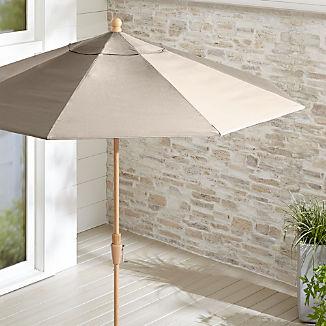 9' Round Sunbrella ® Stone Patio Umbrella with Tilt Faux Wood Frame