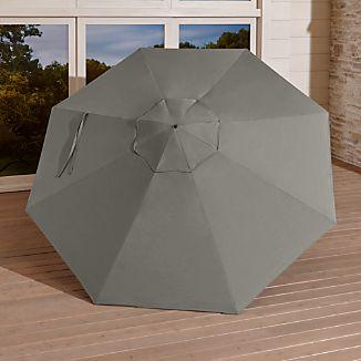 9u0027 Round Sunbrella ® Graphite Umbrella Canopy & Replacement Umbrella Canopies | Crate and Barrel