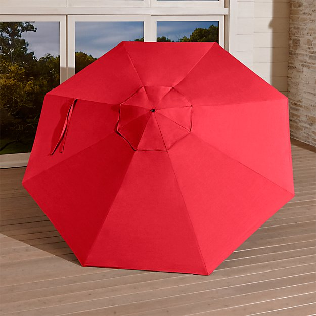 9' Round Sunbrella ® Ribbon Red Umbrella Canopy