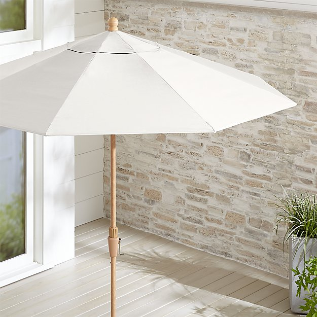 9' Round Sunbrella ® White Sand Patio Umbrella with Tilt Faux Wood Frame - Image 1 of 3