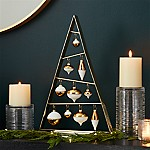 Small Gold A-Frame Ornament Tree with Set of 10 Gold Ornaments