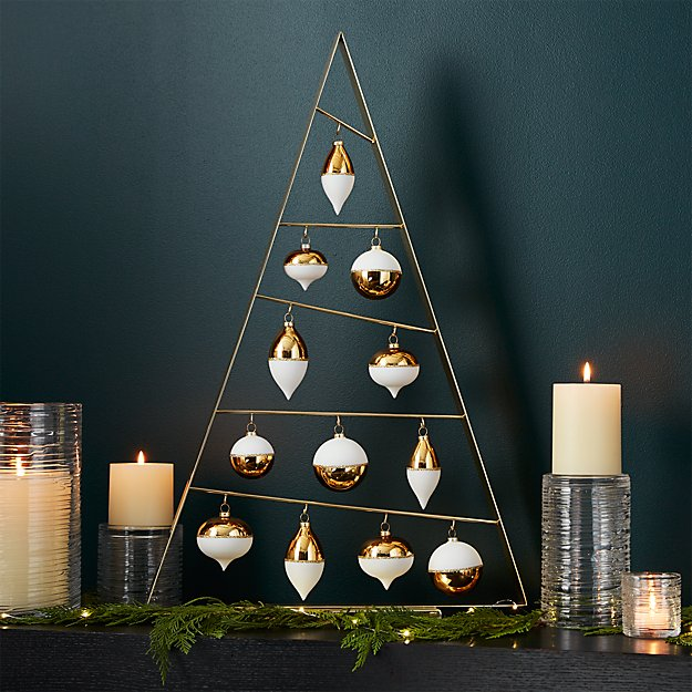 Large Gold A-Frame Ornament Tree with Set of 12 Gold Ornaments
