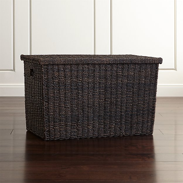 Abaca Wicker Trunk Basket with Lid Large