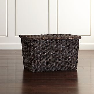 Abaca Wicker Trunk Basket with Lid Small