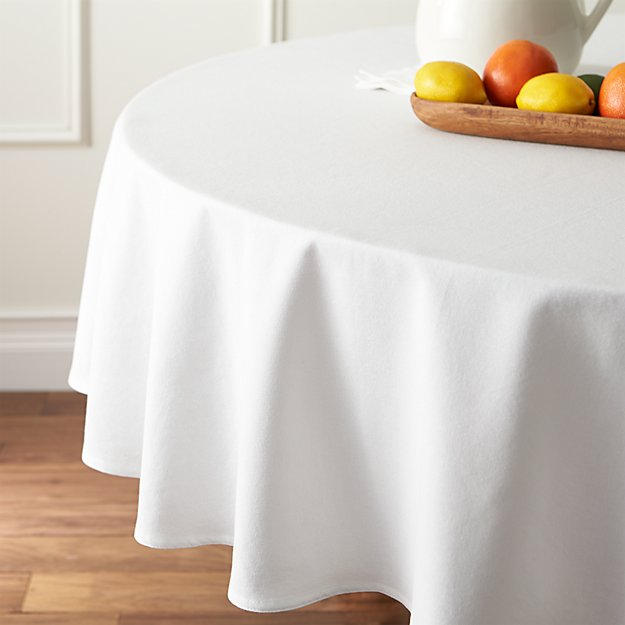 abode white 90 round tablecloth crate and barrel. Black Bedroom Furniture Sets. Home Design Ideas