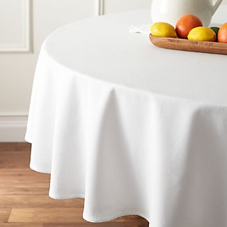 "Abode White 90"" Round Tablecloth"