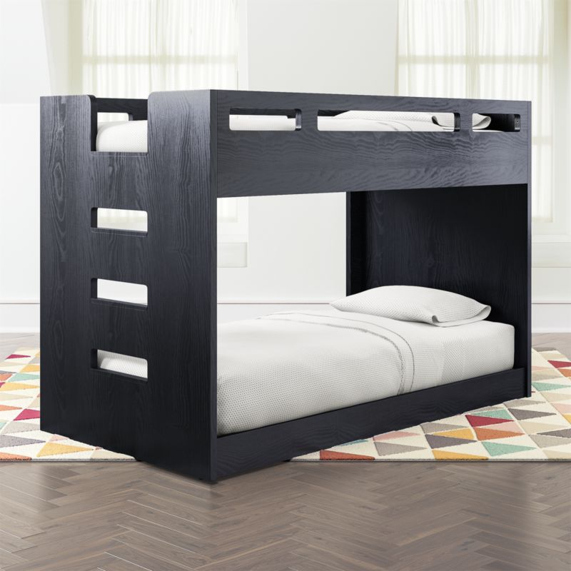 Abridged Charcoal Glaze Low Twin Bunk Bed With Left Ladder