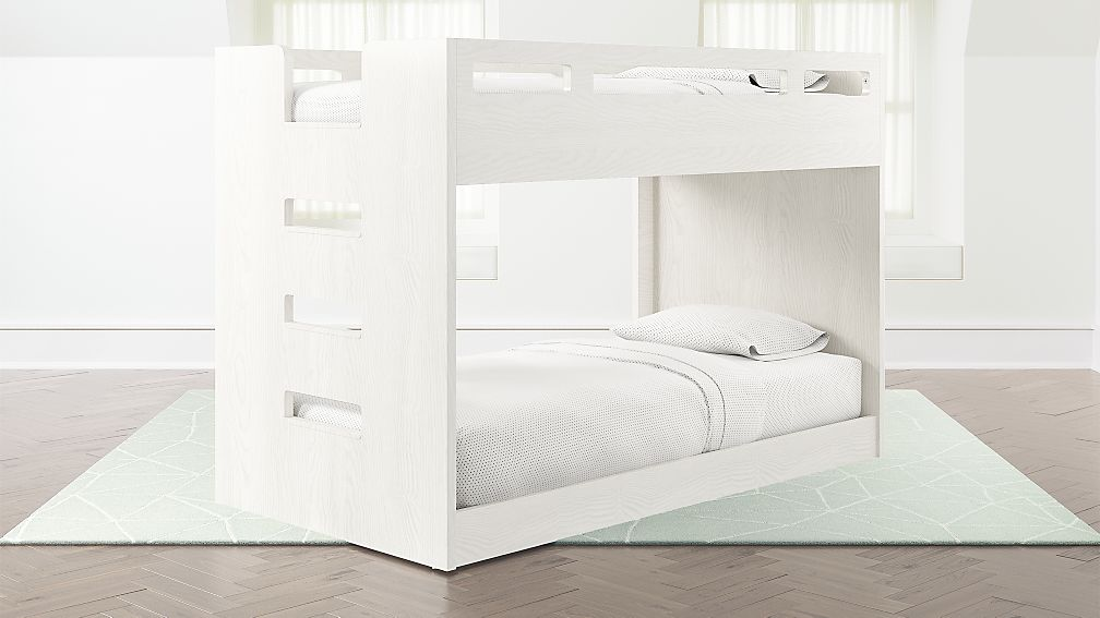 Abridged White Glaze Low Twin Bunk Bed With Left Ladder