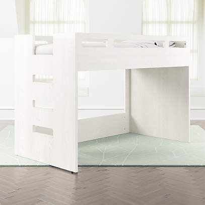 Abridged White Glaze Low Twin Loft Bed With Left Ladder Reviews Crate And Barrel