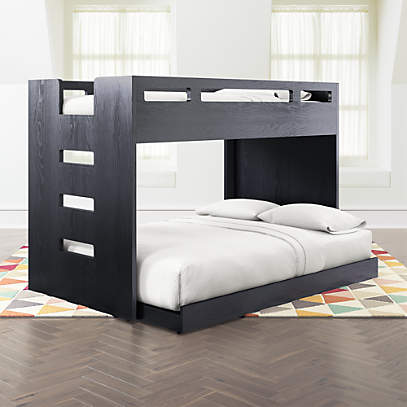 Abridged Charcoal Glaze Twin Over Full Bunk Bed With Left Ladder Crate And Barrel
