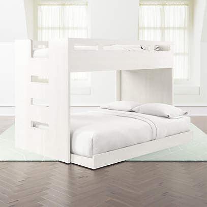 Abridged White Glaze Twin Over Full Bunk Bed With Left Ladder Reviews Crate And Barrel