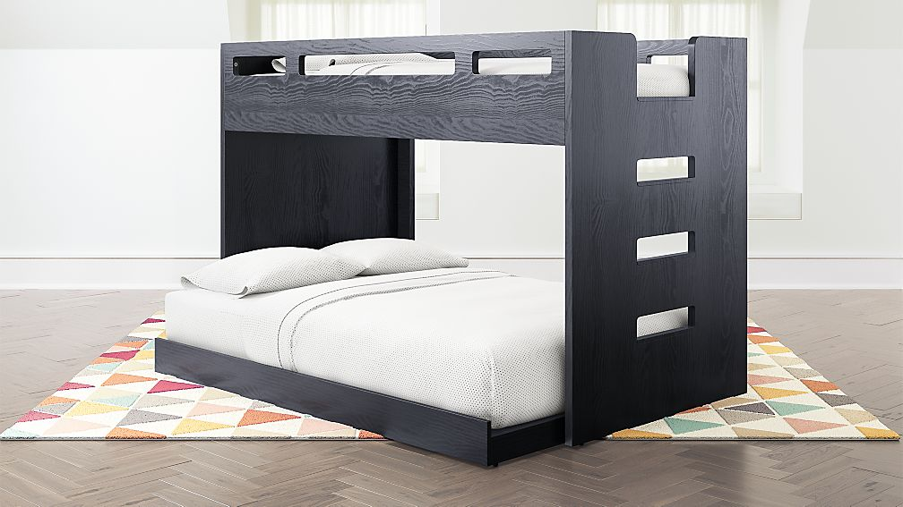 Abridged Charcoal Glaze Twin Over Full Bunk Bed With Right Ladder