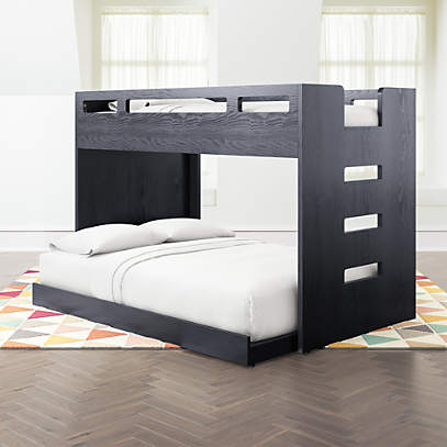 Abridged Charcoal Glaze Twin Over Full Bunk Bed With Right Ladder Crate And Barrel