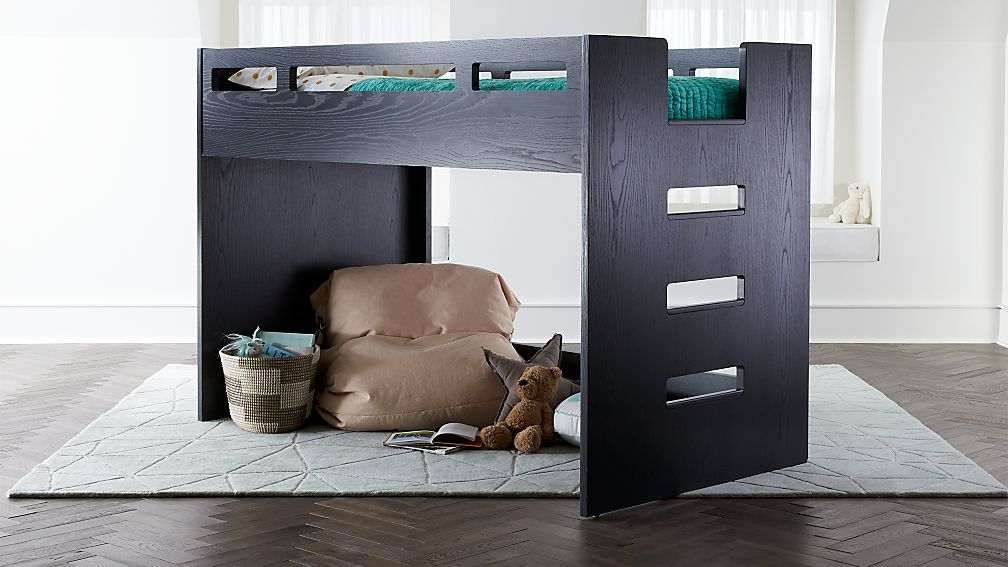 Abridged Charcoal Glaze Low Twin Loft Bed With Right Ladder