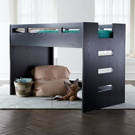 Abridged Charcoal Glaze Low Twin Loft Bed Crate And Barrel