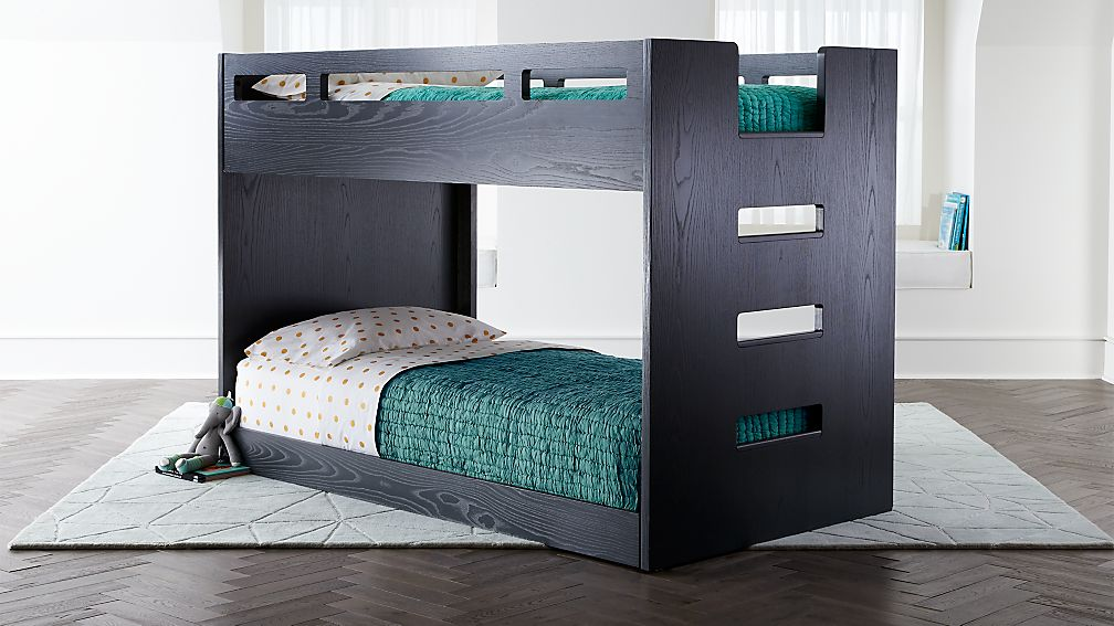 Abridged Charcoal Glaze Low Twin Bunk Bed With Right Ladder