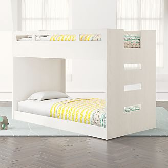 Abridged White Glaze Low Twin Bunk Bed Kids
