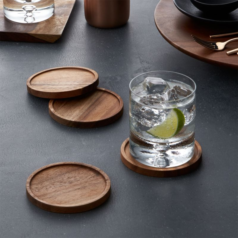 Cb2 Free Shipping >> Acacia Wood Coasters Set of 4 + Reviews | Crate and Barrel