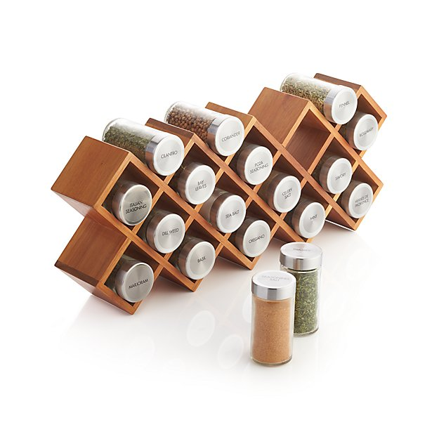 Woodworking Plans For Kitchen Spice Rack: 18-Jar Acacia Wood Spice Rack + Reviews
