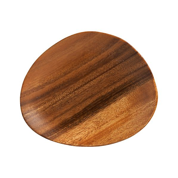 "Acacia Wood 7""x6"" Appetizer Plate"