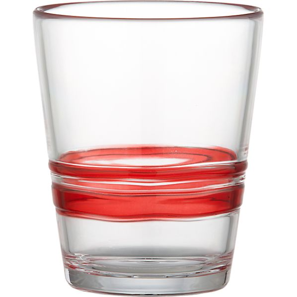 Stripes Red Acrylic Double Old-Fashioned Glass