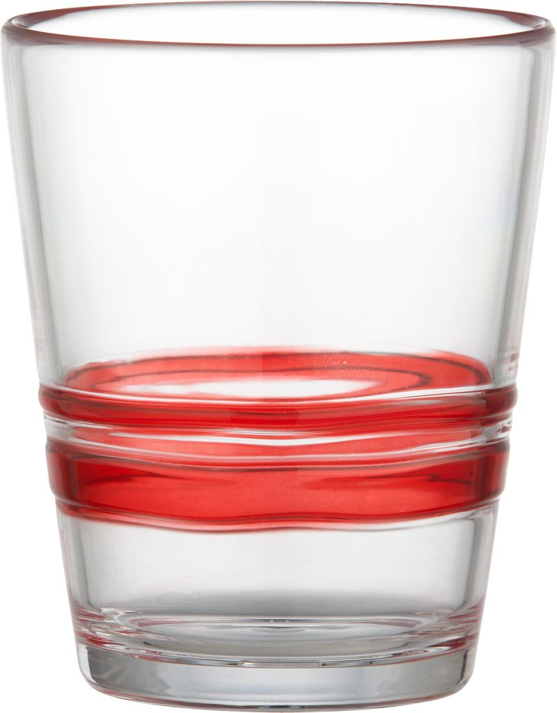 Freeform ripples of clear red embellish casual barware with the look of artisan glass and the durability of acrylic. A carefree choice for holiday gatherings also makes a festive upgrade to the everyday table.<br /><br /><NEWTAG/><ul><li>100% acrylic</li><li>Do not use with hot or boiling water</li><li>Top-rack dishwasher-safe</li><li>Made in China</li></ul>