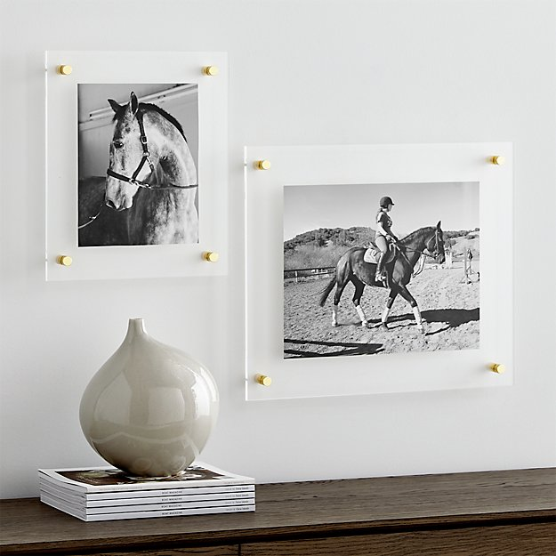 Brass Floating Acrylic Wall Frame | Crate and Barrel