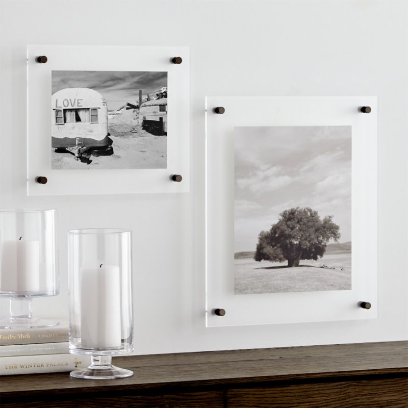 gunmetal floating acrylic wall frame - White Square Frames