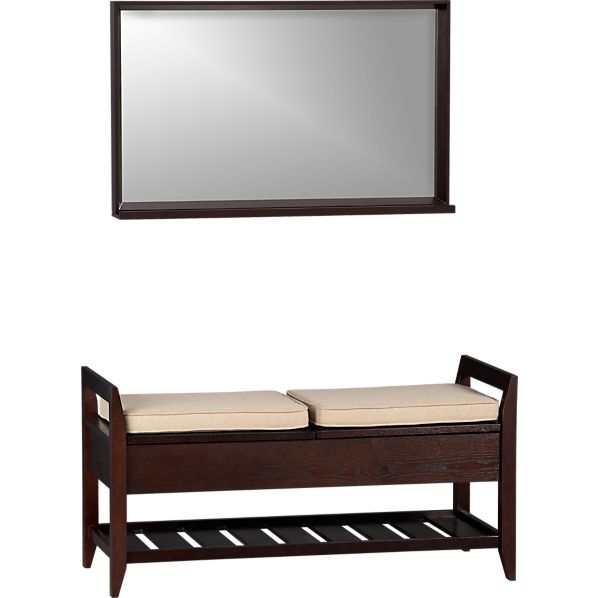 Addison Storage Bench with Cushions and Mirror