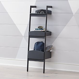 Addison Charcoal Leaning Bookcase Kids