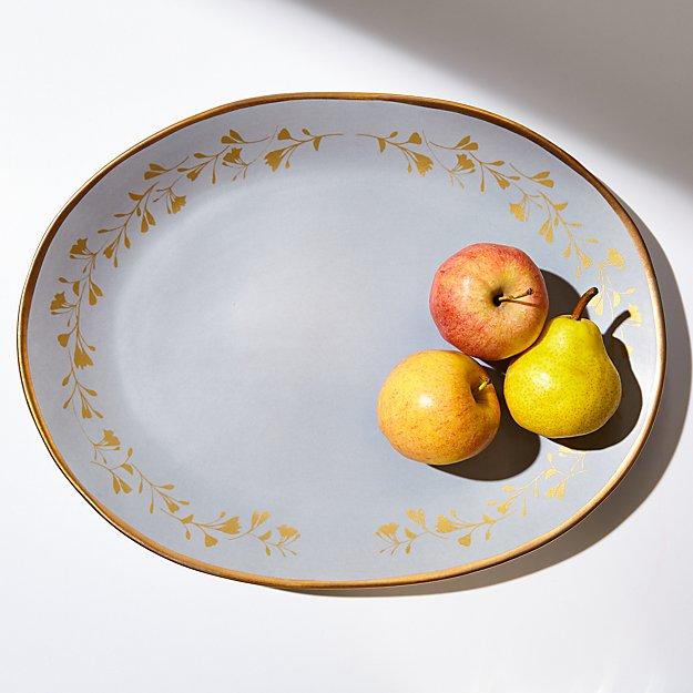 Addison Gold Leaves Oval Platter - Image 1 of 4