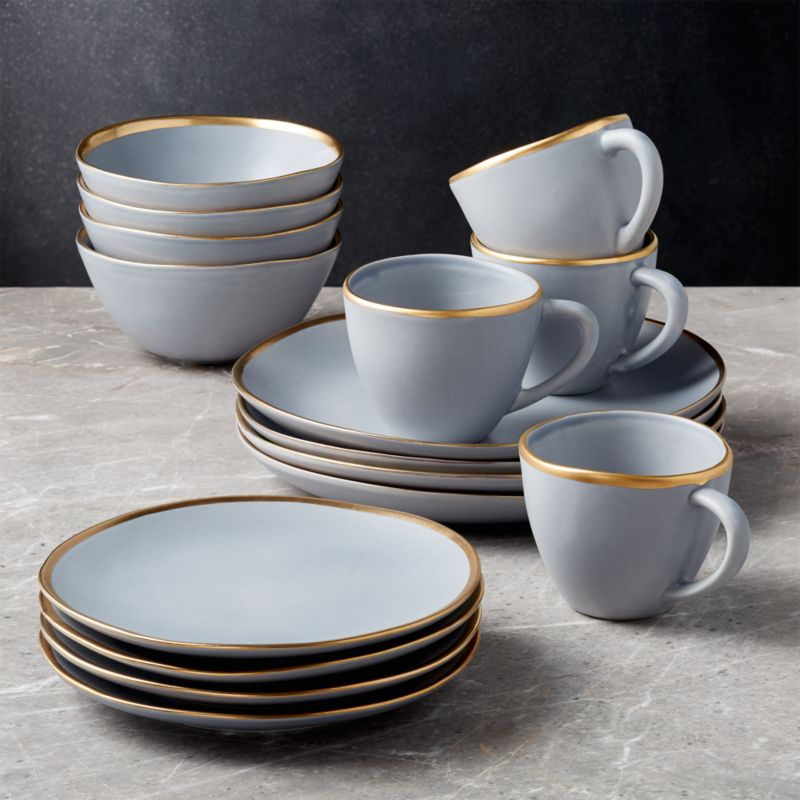 Addison Grey 16 Piece Gold Rim Dinnerware Set by Crate&Barrel