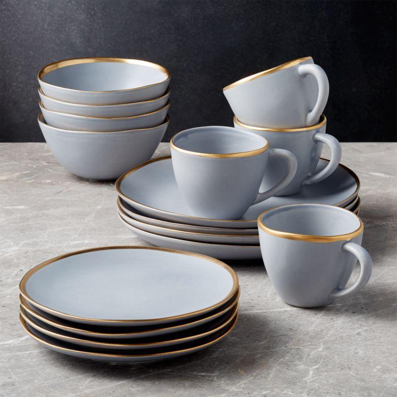 Addison Grey 16-Piece Gold Rim Dinnerware Set + Reviews | Crate ...
