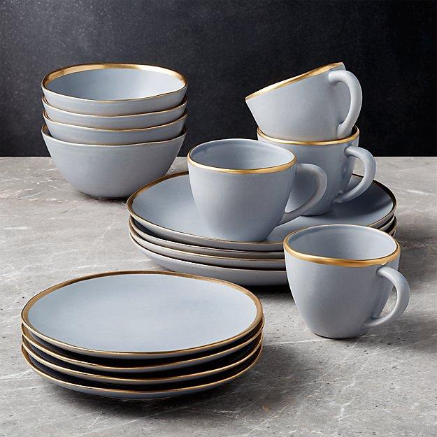 Addison Grey 16-Piece Gold Rim Dinnerware Set - Image 1 of 6