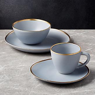 Addison Grey 4-Piece Gold Rim Dinnerware Set