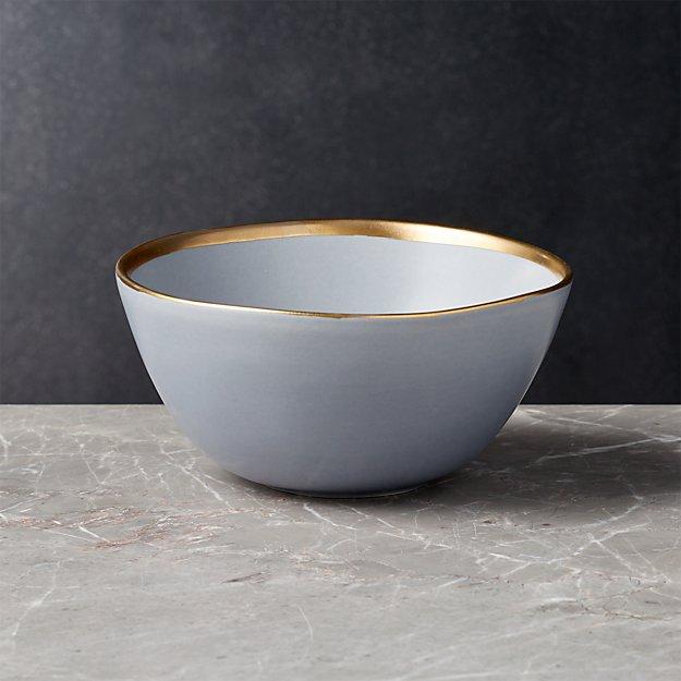 Addison Grey Gold Rim Cereal Bowl - Image 1 of 5
