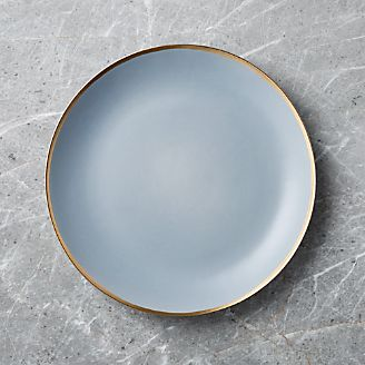 Addison Grey Gold Rim Dinner Plate & Dinner Plates: Square Oval Rectangular \u0026 Round   Crate and Barrel