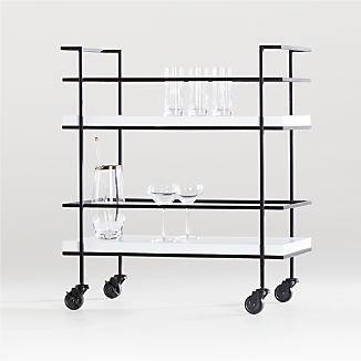 Adina Black Cart with White Concrete Shelves
