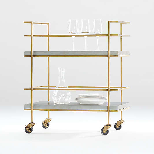 Adina Brass Cart with Silver Leaf Concrete Shelves