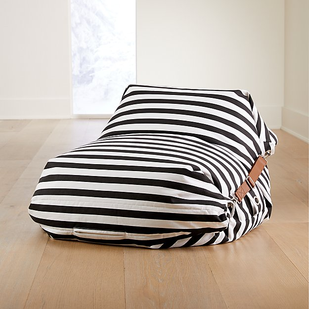 Adjustable Black and White Stripe Bean Bag Chair - Image 1 of 4