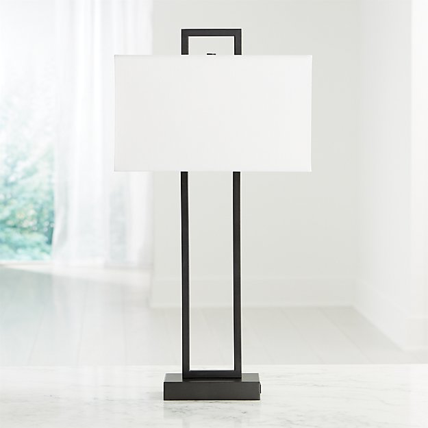Adler Black Rectangle Table Lamp with USB - Image 1 of 4