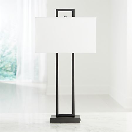 Adler Black Rectangle Table Lamp With Usb