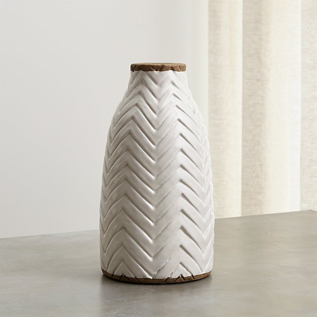 Adra White Chevron Vase Reviews Crate And Barrel