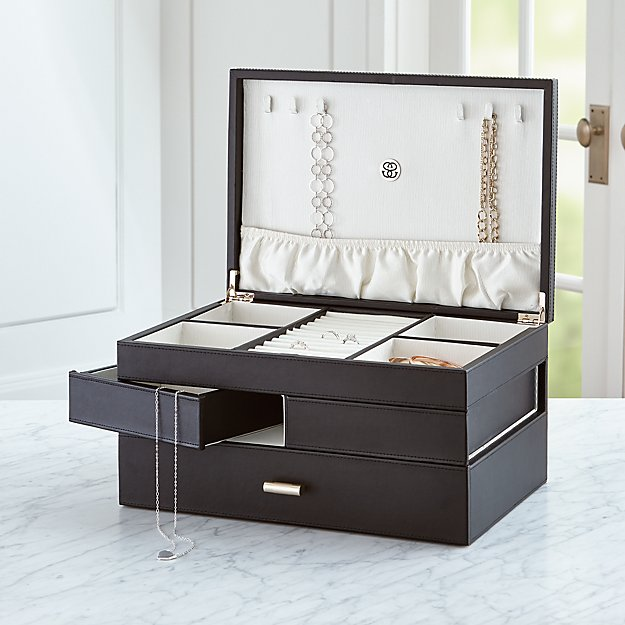 Agency Large Black Jewelry Box Reviews Crate And Barrel