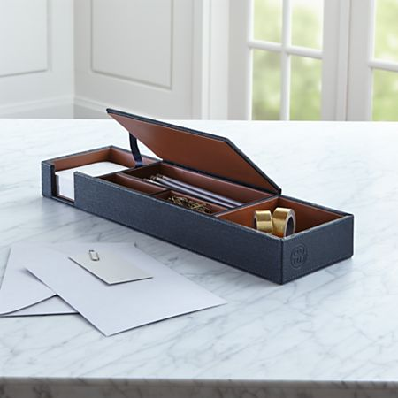 Agency Navy/Brown Desk Caddy + Reviews   Crate and Barrel