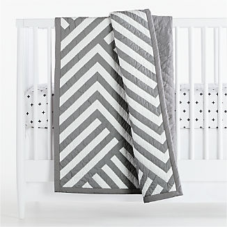 Grey Geometric Crib Quilt