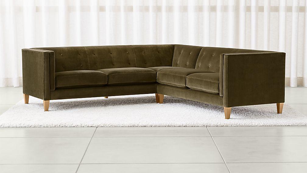 Aidan Velvet 2 Piece Left Arm Corner Tufted Sectional Sofa Reviews Crate And Barrel