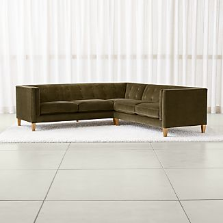 Aidan Velvet 2 Piece Left Arm Corner Tufted Sectional Sofa